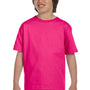 Gildan Youth DryBlend Moisture Wicking Short Sleeve Crewneck T-Shirt - Heliconia Pink