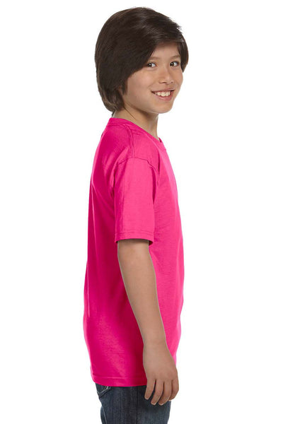 Gildan G800B Youth DryBlend Moisture Wicking Short Sleeve Crewneck T-Shirt Heliconia Pink Side
