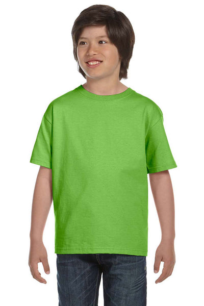 Gildan G800B Youth DryBlend Moisture Wicking Short Sleeve Crewneck T-Shirt Lime Green Front