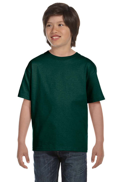 Gildan G800B Youth DryBlend Moisture Wicking Short Sleeve Crewneck T-Shirt Forest Green Front