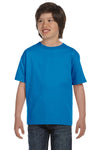 Gildan G800B Youth DryBlend Moisture Wicking Short Sleeve Crewneck T-Shirt Sapphire Blue Front