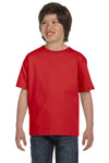 Gildan G800B Youth DryBlend Moisture Wicking Short Sleeve Crewneck T-Shirt Red Front