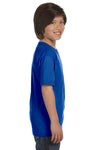 Gildan G800B Youth DryBlend Moisture Wicking Short Sleeve Crewneck T-Shirt Royal Blue Side