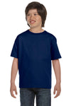 Gildan G800B Youth DryBlend Moisture Wicking Short Sleeve Crewneck T-Shirt Navy Blue Front
