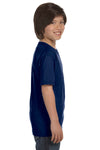 Gildan G800B Youth DryBlend Moisture Wicking Short Sleeve Crewneck T-Shirt Navy Blue Side