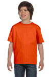 Gildan G800B Youth DryBlend Moisture Wicking Short Sleeve Crewneck T-Shirt Orange Front