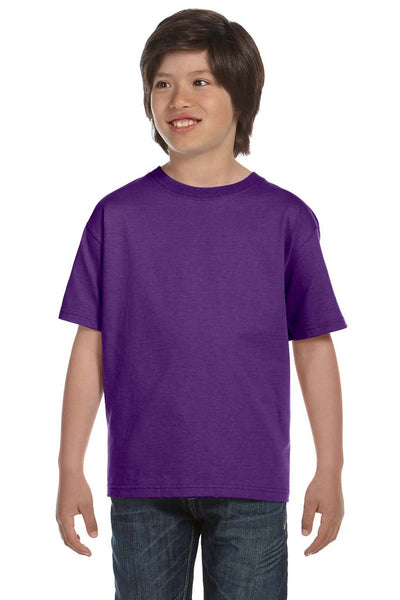 Gildan G800B Youth DryBlend Moisture Wicking Short Sleeve Crewneck T-Shirt Purple Front