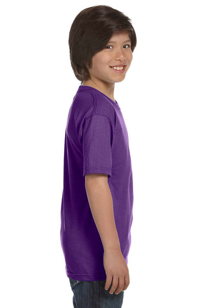 Gildan G800B Youth DryBlend Moisture Wicking Short Sleeve Crewneck T-Shirt Purple Side