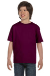 Gildan G800B Youth DryBlend Moisture Wicking Short Sleeve Crewneck T-Shirt Maroon Front