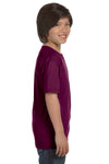 Gildan G800B Youth DryBlend Moisture Wicking Short Sleeve Crewneck T-Shirt Maroon Side