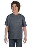 Gildan G800B Youth DryBlend Moisture Wicking Short Sleeve Crewneck T-Shirt Heather Dark Grey Front