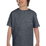 Gildan Youth DryBlend Moisture Wicking Short Sleeve Crewneck T-Shirt - Heather Dark Grey