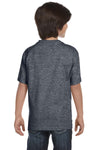 Gildan G800B Youth DryBlend Moisture Wicking Short Sleeve Crewneck T-Shirt Heather Dark Grey Back