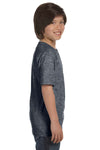Gildan G800B Youth DryBlend Moisture Wicking Short Sleeve Crewneck T-Shirt Heather Dark Grey Side