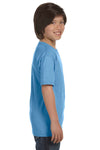 Gildan G800B Youth DryBlend Moisture Wicking Short Sleeve Crewneck T-Shirt Carolina Blue Side