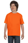 Gildan G800B Youth DryBlend Moisture Wicking Short Sleeve Crewneck T-Shirt Safety Orange Front
