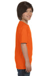 Gildan G800B Youth DryBlend Moisture Wicking Short Sleeve Crewneck T-Shirt Safety Orange Side