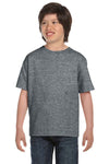Gildan G800B Youth DryBlend Moisture Wicking Short Sleeve Crewneck T-Shirt Heather Graphite Grey Front