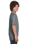 Gildan G800B Youth DryBlend Moisture Wicking Short Sleeve Crewneck T-Shirt Heather Graphite Grey Side
