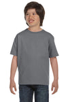 Gildan G800B Youth DryBlend Moisture Wicking Short Sleeve Crewneck T-Shirt Gravel Grey Front