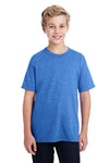 Gildan G800B Youth DryBlend Moisture Wicking Short Sleeve Crewneck T-Shirt Heather Royal Blue Front