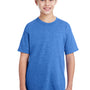 Gildan Youth DryBlend Moisture Wicking Short Sleeve Crewneck T-Shirt - Heather Royal Blue