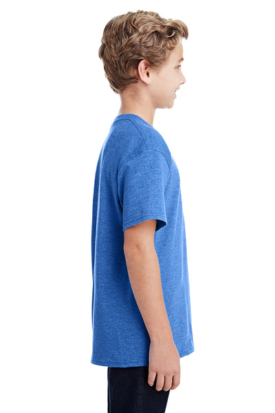 Gildan G800B Youth DryBlend Moisture Wicking Short Sleeve Crewneck T-Shirt Heather Royal Blue Side