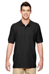 Gildan G828 Mens Short Sleeve Polo Shirt Black Front