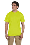 Gildan G830 Mens DryBlend Moisture Wicking Short Sleeve Crewneck T-Shirt w/ Pocket Safety Green Front