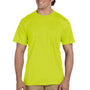 Gildan Mens DryBlend Moisture Wicking Short Sleeve Crewneck T-Shirt w/ Pocket - Safety Green