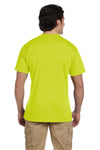 Gildan G830 Mens DryBlend Moisture Wicking Short Sleeve Crewneck T-Shirt w/ Pocket Safety Green Back