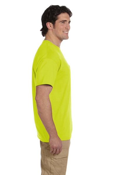 Gildan G830 Mens DryBlend Moisture Wicking Short Sleeve Crewneck T-Shirt w/ Pocket Safety Green Side