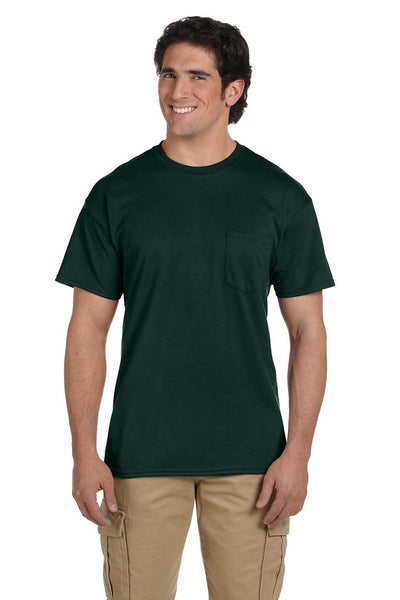 Gildan G830 Mens DryBlend Moisture Wicking Short Sleeve Crewneck T-Shirt w/ Pocket Forest Green Front
