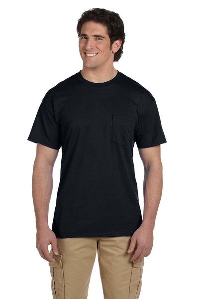 Gildan G830 Mens DryBlend Moisture Wicking Short Sleeve Crewneck T-Shirt w/ Pocket Black Front