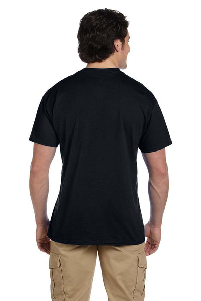 Gildan G830 Mens DryBlend Moisture Wicking Short Sleeve Crewneck T-Shirt w/ Pocket Black Back
