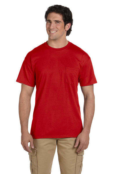 Gildan G830 Mens DryBlend Moisture Wicking Short Sleeve Crewneck T-Shirt w/ Pocket Red Front