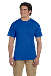 Gildan G830 Mens DryBlend Moisture Wicking Short Sleeve Crewneck T-Shirt w/ Pocket Royal Blue Front