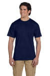Gildan G830 Mens DryBlend Moisture Wicking Short Sleeve Crewneck T-Shirt w/ Pocket Navy Blue Front