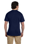 Gildan G830 Mens DryBlend Moisture Wicking Short Sleeve Crewneck T-Shirt w/ Pocket Navy Blue Back