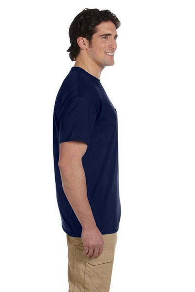 Gildan G830 Mens DryBlend Moisture Wicking Short Sleeve Crewneck T-Shirt w/ Pocket Navy Blue Side