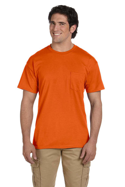 Gildan G830 Mens DryBlend Moisture Wicking Short Sleeve Crewneck T-Shirt w/ Pocket Orange Front