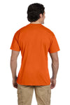 Gildan G830 Mens DryBlend Moisture Wicking Short Sleeve Crewneck T-Shirt w/ Pocket Orange Back