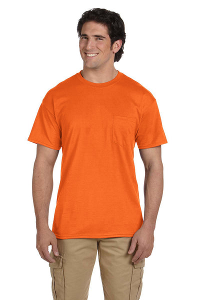 Gildan G830 Mens DryBlend Moisture Wicking Short Sleeve Crewneck T-Shirt w/ Pocket Safety Orange Front