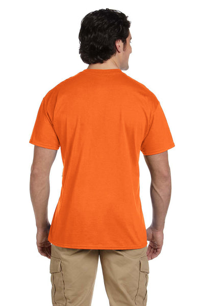 Gildan G830 Mens DryBlend Moisture Wicking Short Sleeve Crewneck T-Shirt w/ Pocket Safety Orange Back