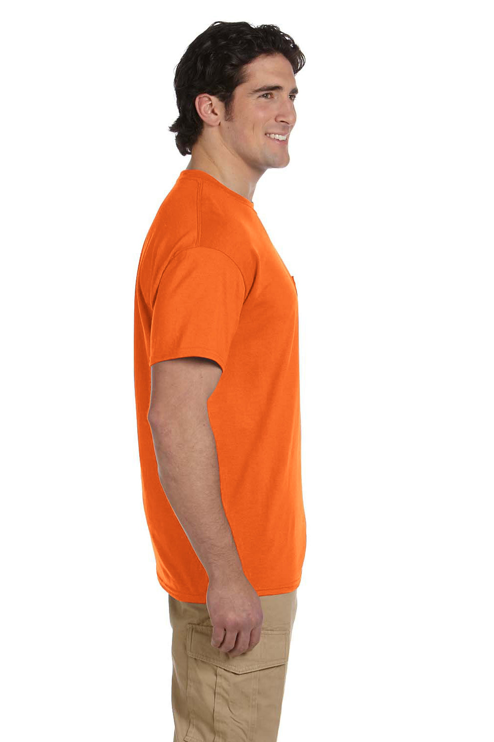 Gildan G830 Mens DryBlend Moisture Wicking Short Sleeve Crewneck T-Shirt w/ Pocket Safety Orange Side