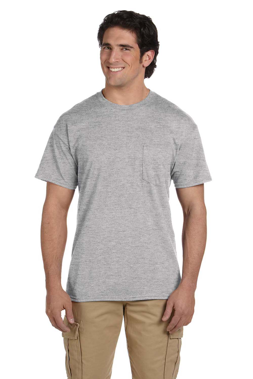 Gildan G830 Mens DryBlend Moisture Wicking Short Sleeve Crewneck T-Shirt w/ Pocket Sport Grey Front