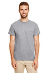 Gildan G830 Mens DryBlend Moisture Wicking Short Sleeve Crewneck T-Shirt w/ Pocket Heather Graphite Grey Front