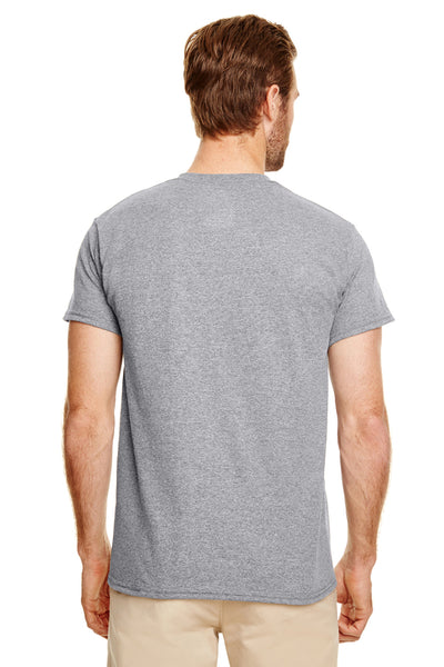 Gildan G830 Mens DryBlend Moisture Wicking Short Sleeve Crewneck T-Shirt w/ Pocket Heather Graphite Grey Back
