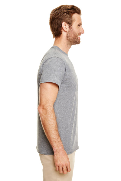Gildan G830 Mens DryBlend Moisture Wicking Short Sleeve Crewneck T-Shirt w/ Pocket Heather Graphite Grey Side