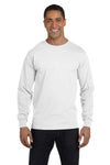 Gildan G840 Mens DryBlend Moisture Wicking Long Sleeve Crewneck T-Shirt White Front